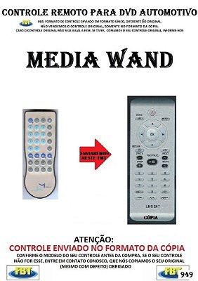 Controle Remoto Compatível - para DVD Digital Automotivo TFT MEDIA WAND