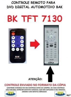 Controle Remoto Compatível - para DVD Digital Automotivo BAK TFT 7130