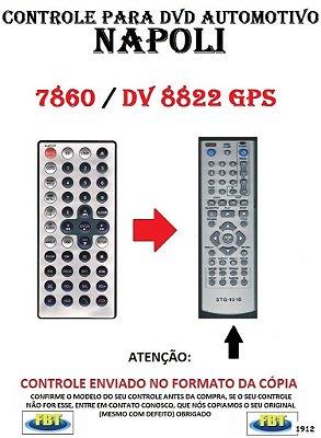 Controle Remoto Compatível - para DVD Automotivo NAPOLI 7860 / DV 8822 GPS