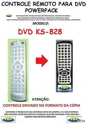 Controle Remoto Compatível - para DVD POWERPACK KS-828