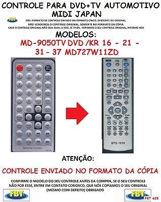 Controle Remoto Compatível - para TV+DVD MIDI JAPAN MD 9050 TV DVD / KR 16 - 21 - 31 - 37 / MD 727W 11ZD