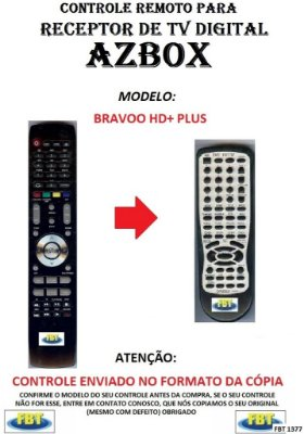 CONTROLE REMOTO PARA RECEPTOR DE TV DIGITAL AZBOX BRAVOO HD+ (PLUS)