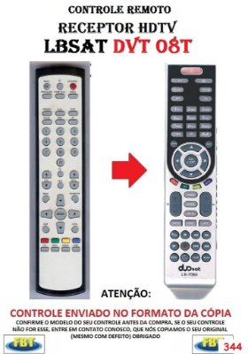 Controle Remoto Compatível para RECEPTOR HDTV LBSAT DVT 08T
