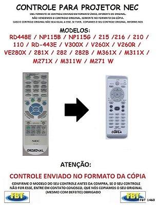 CONTROLE REMOTO PROJETOR DIGITAL NEC RD448E NP115B NP115G 215 216 210 110 RD443E V300X V260X V260R VE280X 281X 282 282B M361X M311X M271X M311W M271W