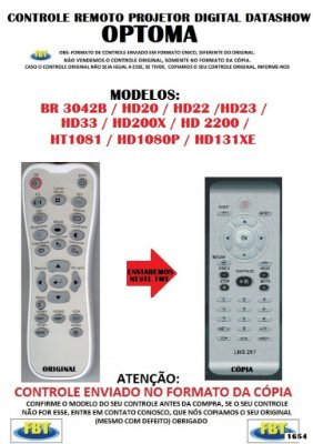 Controle Remoto Compatível - Projetor Optoma BR3042B HD20 HD22 HD23 HD33 HD200X HD2200 HT1081 HD1080P HD131XE