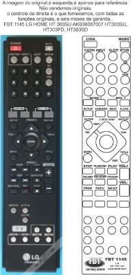 CONTROLE REMOTO LG HOME THEATER AKB36087607 HT303SU HT303PD HT353SD