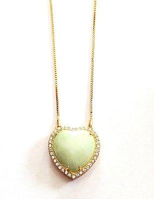 Colar Semi Jóia - Coração Pedra Natural