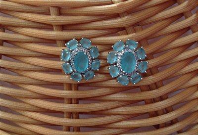 Brinco Semi Jóia Circular - Azul