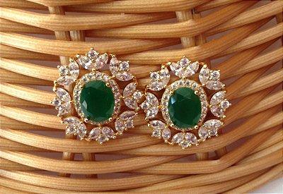 Brinco Semi Jóia - Verde Esmeralda