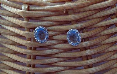 Brinco Semi Jóia - Cristal Azul
