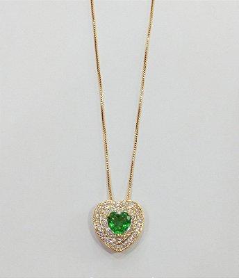 Colar Semi Jóia - Coração Verde