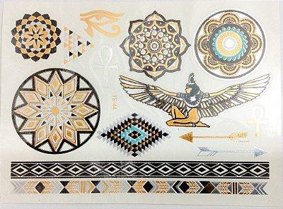 Flash Tattoo Egipcía Colorida