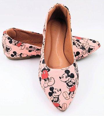 sapatilha-bico fino - mickey rosa