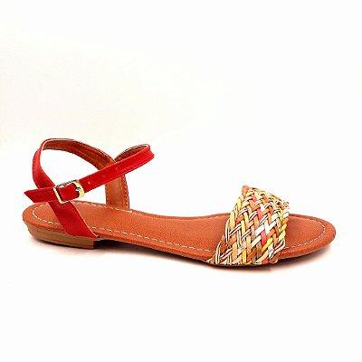87 - Sandália (rasteira) vermelho -trança colorida- Ref 027