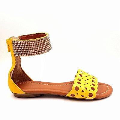 82 - Sandália (rasteira) Amarelo - Ref 510