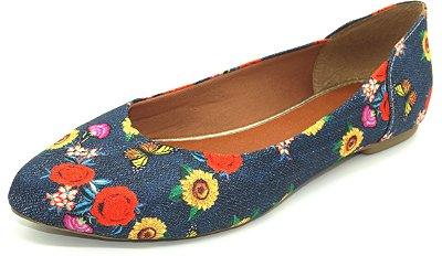 Sapatilha Bico Fino - Jeans Floral - Ref 000