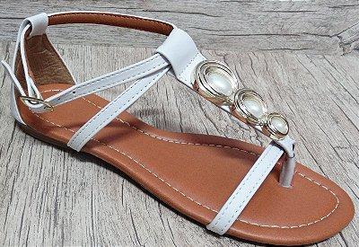 Sandália (rasteira) Branca - Enfeite Oval -  Ref 124