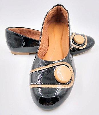 sapatilha - preta vz - com botao - bico redondo