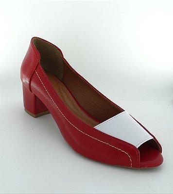 Retrô Vermelho Branco - Salto Grosso - Ref 009