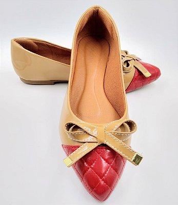sapatilha bico fino - vermelha com areia