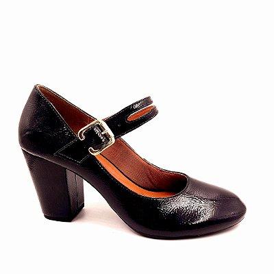 S 01 - Sapato Boneca - Preto Verniz - Salto Grosso - ref 150
