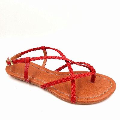 55 - Sandália (rasteira) Vermelha Trançado - Ref 117