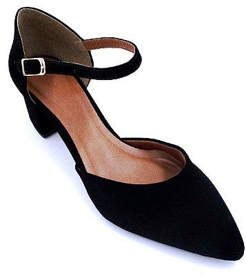 Sapato Preto Nobuck - Salto Baixo Grosso- Ref 013