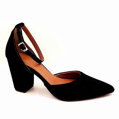 S 19 - Sapato Preto Nobuck - Salto Baixo Grosso- Ref 013