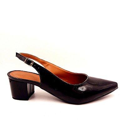 S 34 - Sapato verniz preto - Salto Baixo Grosso-