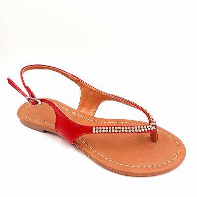 77 - Sandália (rasteira) vermelha - Ref 107