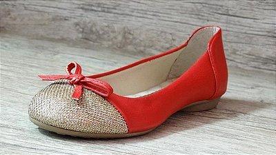 Sapatilha Vermelha Com Bico Dourado - Ref 008