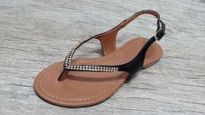Sandália (rasteira) Preta - Ref 107