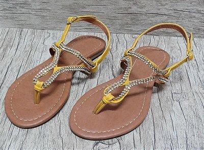 Sandália (Rasteira) Amarela Com Strass - Ref 024