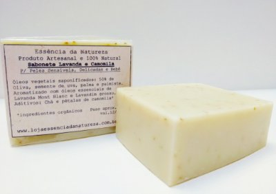 Sabonete Natural Lavanda e Camomila com 50% Oliva