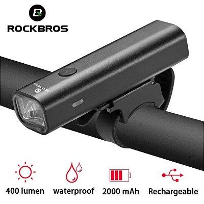 Lanterna Farol Bicicleta Rockbros 400 lumens Usb