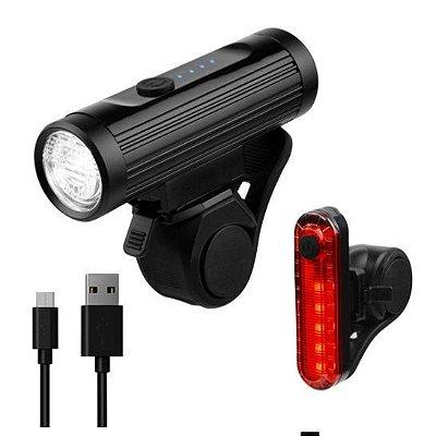 Kit Farol Led 700 lumens + Sinalizador Traseiro Led 10 Lumens USB X-Plore