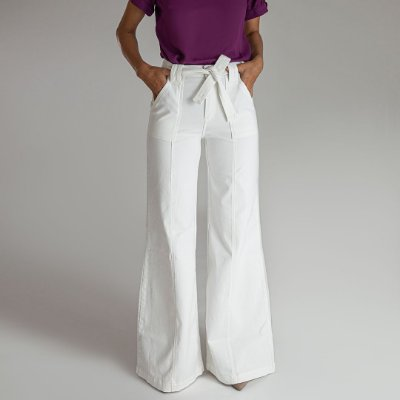 Calça Wide Pantalona Branca - Melbourne -  Santé Denim
