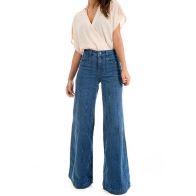 Pantalona Jeans Nervuras - Breda - Santé Denim