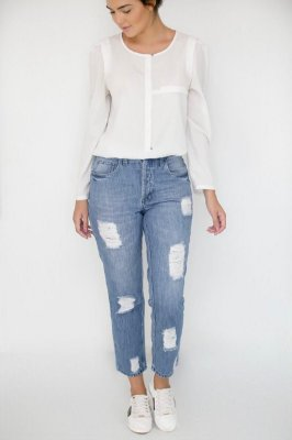 Calça Jeans Boyfriend Destroyed - Antequera - Santé Denim