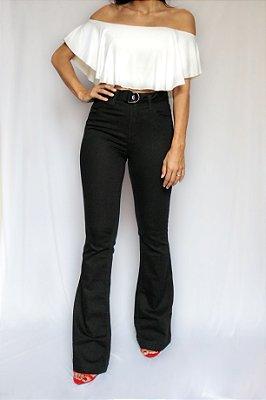 Calça Jeans Flare Preta - Ottawa - Santé Denim