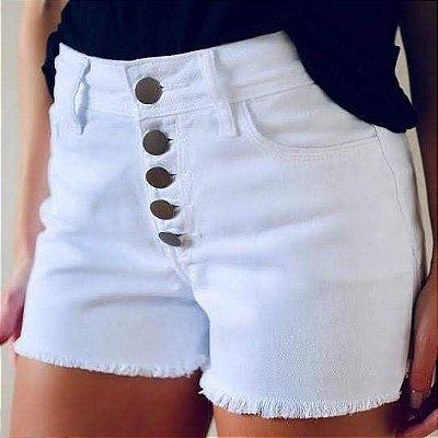 Shorts Sarja Branco- Verona Botões - Santé Denim **