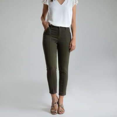 Calça Skinny Sarja Verde - Toledo - Santé Denim