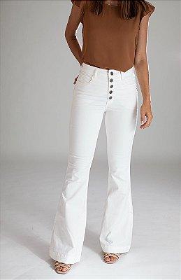 Calça Jeans Flare Off White  - Cartago