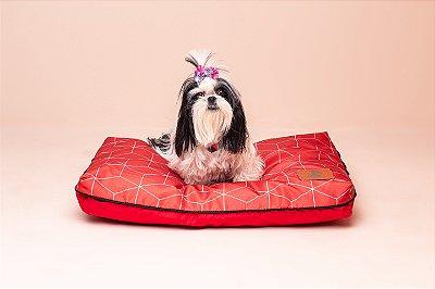 Almofada para Cachorro Mabuu Pet - Linhas Geométricas Vermelha