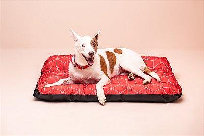 Colchonete para Cachorro Mabuu - Linhas Geométricas Vermelha