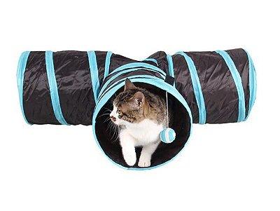 Brinquedo Túnel para Gatos Dobrável com Bolinha - Preto e Azul