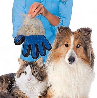Luva Removedora de Pelo para Pets - Azul - Mão Direita