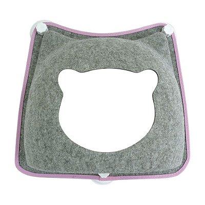 Cama de Janela com Ventosa para Gatos - Carinha de Gato - Cinza