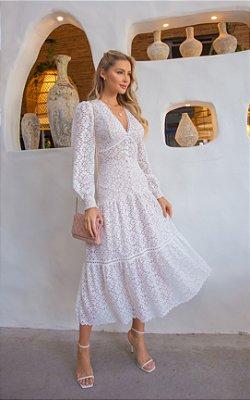 Vestido de noiva de manga longa saia fluida, Lindos
