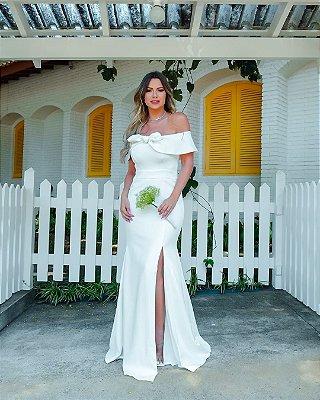 Vestido longo ombro a ombro de noiva simples, Lolla